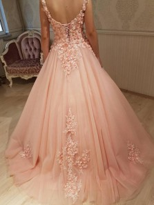 Gorgeous Ball Gown Round Neck Open Back Peach Lace Long Prom Dresses, Elegant Evening Party Dresses