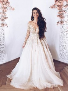 Gorgeous Ball Gown Round Neck Long Sleeves Champagne Lace Long Prom Dresses, Evening Dresses WD1026002