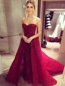 Charming Ball Gown Sweetheart  Burgundy Lace Long Prom Dresses, Elegant Formal Evening Dresses