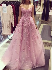 Fairy Ball Gown Sweetheart Pink Lace and Appliques Long Prom Dresses with Beading, Gorgeous Evening Party Dresses PD1027004