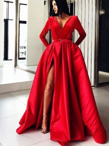 Gorgeous Ball Gown V Neck Long Sleeves Split Satin & Velvet Red Long Prom Dresses, Elegant Evening Dresses
