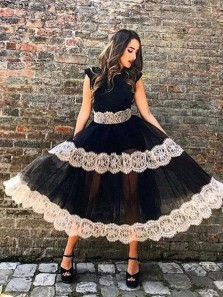 Vintage Round Neck Open Back Lace Black Tea Length Prom Dresses, Beautiful Evening Party Dresses