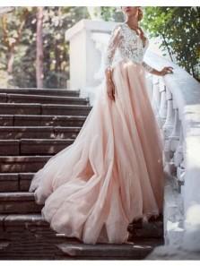 Elegant Ball Gown V Neck Open Back Long Sleeves White Lace Pink Long Wedding Dresses