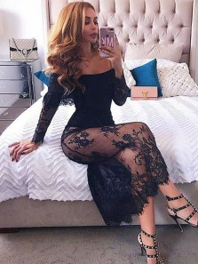 Sexy Mermaid Off the Shoulder Short Sleeves Black Lace Tea Length Party Dresses Under 100 PD1028002