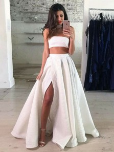 Unique Ball Gown Two Piece Strapless Split Ivory Long Prom Dresses, Gorgeous Evening Dresses PD1028004