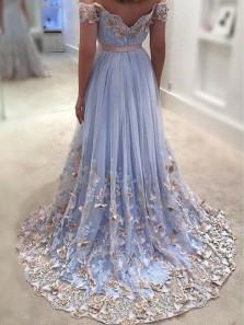 Gorgeous A Line Off the Shoulder Open back Flower Lace Light Blue Long Prom Dresses, Beautiful Evening Party Dresses PD1028005