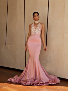 Gorgeous Mermaid Halter Backless Blush Pink Lace Long Prom Dresses with Beading, Elegant Evening Dresses