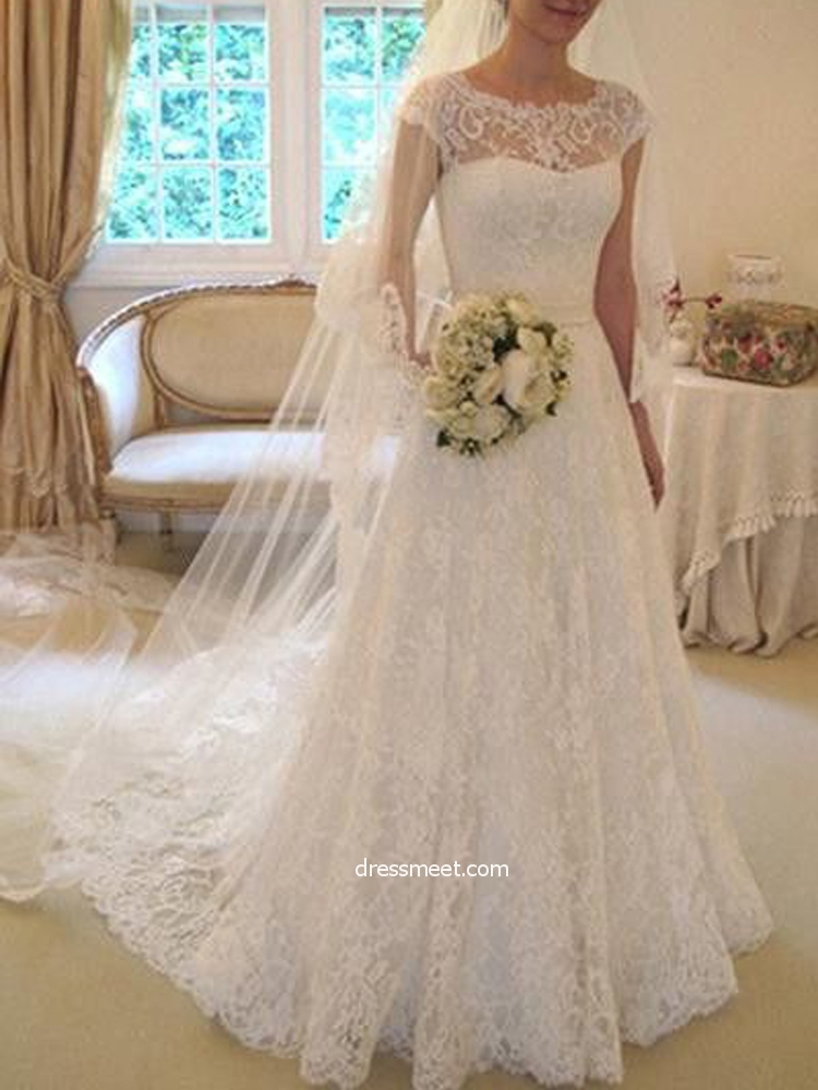 Elegant A Line Round Neck Cap Sleeves Ivory Lace Wedding Dresses With Bow Wedding Gown With Train Dressmeet Com