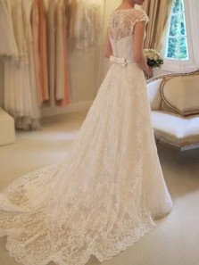 Elegant A Line Round Neck Cap Sleeves Ivory Lace Wedding Dresses with Bow, Wedding Gown with Train