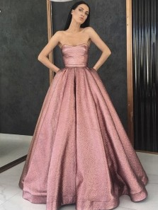 Gorgeous Ball Gown Strapless Blush Pink Sparkly Satin Long Prom Dresses, Beautiful Elegant Evening Dresses with Pockets PD1028007