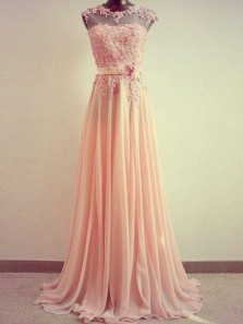 Elegant A Line Round Neck Peach Pink Chiffon and Lace Long Prom Dresses, Beautiful Evening Party Dresses PD1029003
