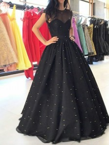 Vintage Ball Gown Round Neck Tulle and Satin Black Long Prom Dresses, Evening Party Dresses with Beading PD1029001