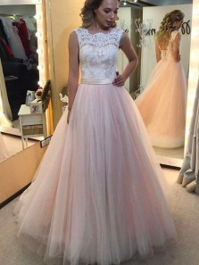 Elegant Ball Gown Round Neck Open Back Pearl Pink Tulle White Lace Long Wedding Dresses