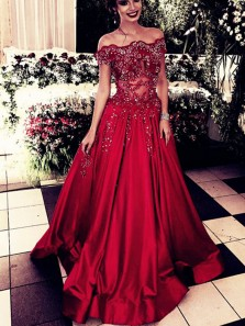 Gorgeous Ball Gown Off the Shoulder Dark Red Burgundy Lace Long Prom Dresses with Beading, Elegant Evening Party Dresses PD1029002