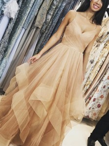 2020 Fashion Sweetheart Spaghetti Straps Champagne Sparkly Tulle Long Prom Dresses, Tiered Gown Unique Evening Dresses PD1029004