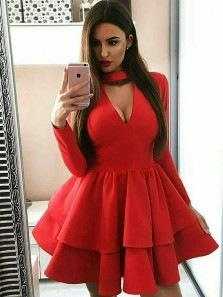 Charming A Line V Neck Halter Open Back Long Sleeves Red Short Homecoming Dresses, Short Prom Dresses