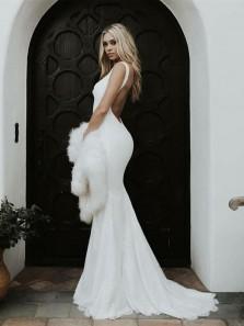 Gorgeous Mermaid V Neck Backless Ivory Lace Wedding Dresses