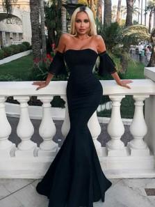 Charming Mermaid Sweetheart Short Sleeves Black Long Prom Dresses, Elegant Evening Party Dresses