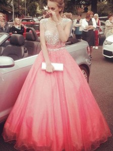 Sparkly Ball Gown Round Neck Open Back Coral Long Prom Dresses with Beading, Quinceanera Dresses