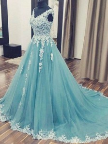 Elegant Ball Gown V Neck Open Back Teal Tulle White Lace Long Prom Dresses with Train, Beautiful Evening Dresses PD1029005