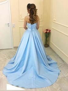Elegant Ball Gown Sweetheart Open Back Light Blue Long Prom Dresses with Lace, Charming Evening Dresses PD1029007