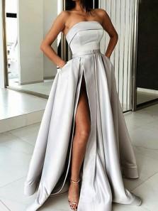 Gorgeous Ball Gown Strapless High Split Grey Satin Long Prom Dresses, Unique Evening Party Dresses