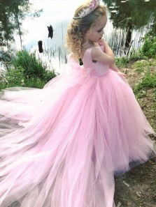 Fairy Ball Gown Scoop Satin & Tulle Pink Long Flower Girl Dresses with Bow Under 100