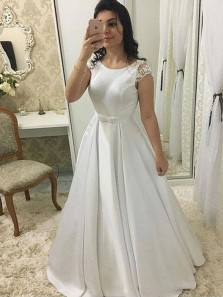 Elegant Ball Gown Round Neck Open Back Satin Cap Sleeves White Lace Long Prom Dresses, Vintage Wedding Dresses