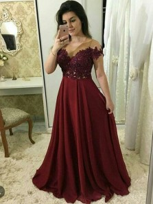 Gorgeous Ball Gown Round Neck Open Back Burgundy Lace Long Prom Dresses, Elegant Evening Party Dresses PD1030004