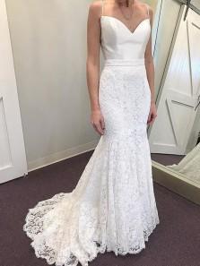 Elegant Mermaid Sweetheart Spaghetti Straps Ivory Satin & Lace Wedding Dresses, Vintage Wedding Gown