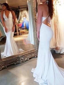 Charming Mermaid V Neck Open Back Spaghetti Straps White Long Prom Dresses, Elegant Evening Dresses
