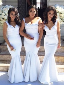 Elegant Mermaid Sweetheart Open Back White Long Bridesmaid Dresses, Simple Bridesmiad Gown