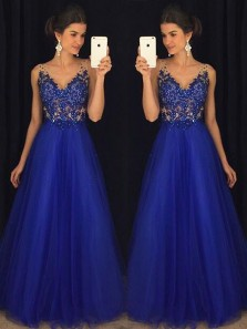 Gorgeous A Line V Neck Open Back Royal Blue Lace Long Prom Dresses with Beading, Elegant Evening Party Dresses PD1030009