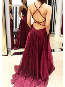 Sexy A Line V Neck Spaghetti Straps Cross Back Burgundy Long Prom Dresses, Elegant Evening Party Dresses with Pockets