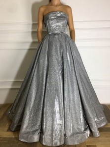 Gorgeous Ball Gown Strapless Grey Sparkly Satin Long Prom Dresses, Unique Evening Party Dresses
