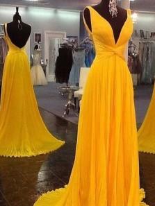 Charming A Line V Neck Open Back Chiffon Yellow Long Prom Dresses, Elegant Evening Party Dresses