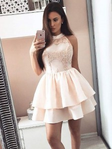 Cute A Line Halter Open Back Apricot Satin Lace Short Homecoming Dresses, Elegant Prom Party Dresses Tiered Gown
