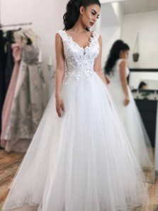 Elegant A Line V Neck White Lace Long Wedding Dresses with Flowers, Beautiful Wedding Gown