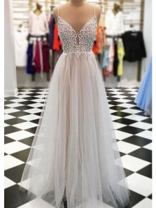 Charming A Line V Neck Open Back Spaghetti Straps Ivory and Champagne Lace Long Prom Dresses, Elegant Evening Dresses