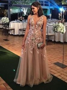 Elegant A Line V Neck Open Back Brown Lace Long Prom Dresses, Formal Elegant Evening Dresses with Appliques
