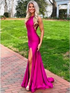 Charming Mermaid Halter Slit Fuchsia Gloss Satin Evening Dresses, Open Back Prom Dresses