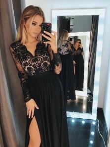 Elegant A Line V Neck Long Sleeves Split Black Lace Long Prom Dresses, Formal Evening Party Dresses