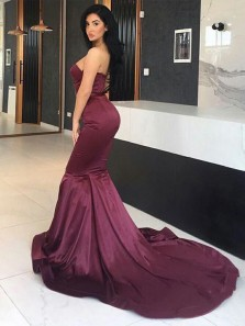 Charming Mermaid Sweetheart Strapless Burgundy Long Prom Dresses with Train, Simple Evening Dresses with Beading