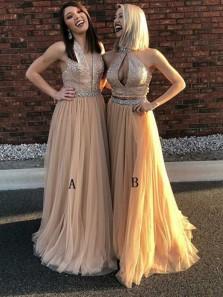 Charming A Line Two Piece V Neck Halter Cream Tulle Beading Long Prom Dresses, Elegant Evening Dresses