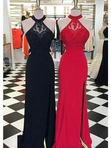 Charming Mermaid Halter Open Back Split Black and Dark Red Lace Long Prom Dresses, Elegant Evening Dresses