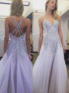 Gorgeous A Line V Neck Spaghetti Straps Lavender Long Prom Dresses with Beading, Fairy Evening Party Dresses
