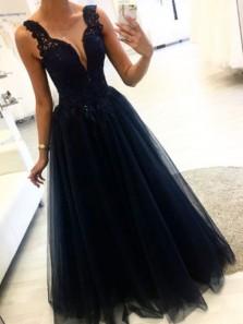 Gorgeous A Line V Neck Open Back Dark Navy Lace Long Prom Dresses, Elegant Evening Dresses