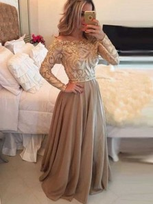 Charming A Line Off the Shoulder Long Sleeves Gold and Brown Lace Long Prom Dresses with Beading, Elegant Evening Dresses