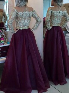 Gorgeous A Line Round Neck Long Sleeves Burgundy Organza Gold Lace Long Prom Dresses, Elegant Evening Dresses PD1102010