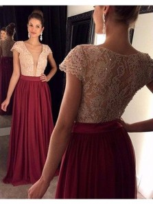 Charming A Line Deep V Neck Cap Sleeves Burgundy Chiffon and Ivory Lace Long Prom Dresses with Beading, Formal Elegant Evening Dresses